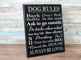 Black Shabby Chic Dog Rules Plaque Sign