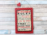 Kitchen Rules Red Polka Dot Slate Plaque Sign