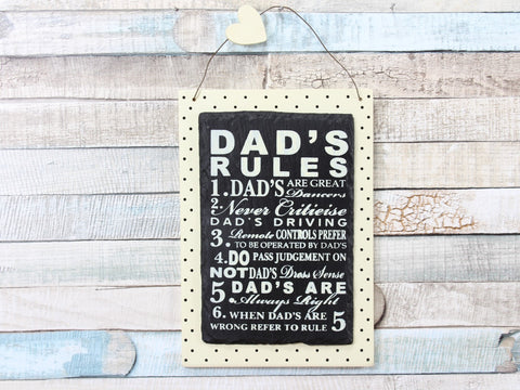 Dad's Rules Cream Polka Dot Slate Plaque Sign