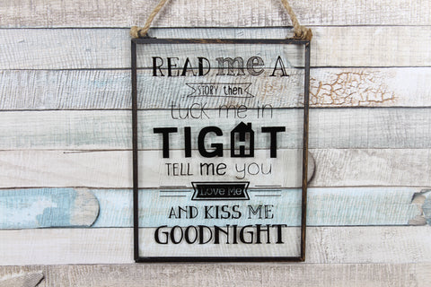 Read Me A Story Goodnight Glass Plaque Sign