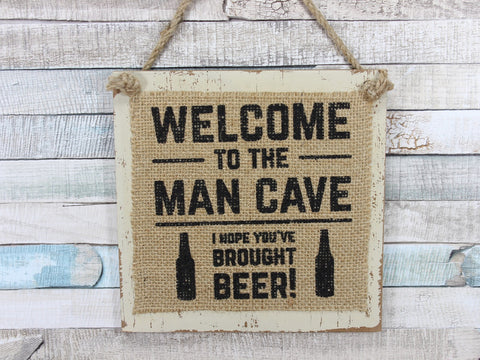 Hessian Wooden Man Sign Choice of 4 Plaques