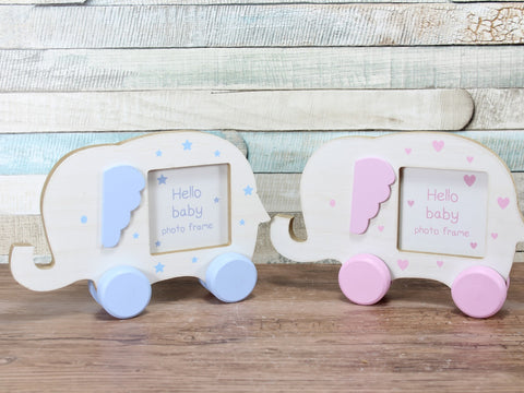 Pink Or Blue Baby Elephant Photo Frame 2.5x2.5""
