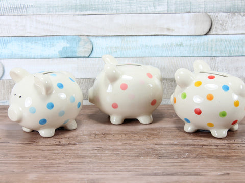 Small Spotty Pig Money Box Choice Of 3 Colours