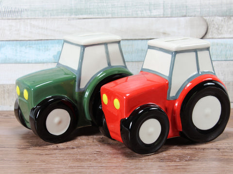 Tractor Ceramic Money Box Red Or Green