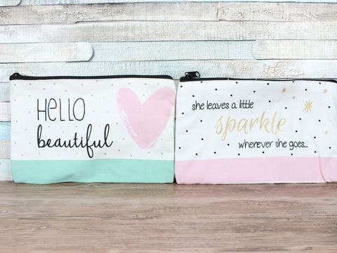 Chloe Make Up Bag Large Canvas Beautiful/Sparkle Choice of 2