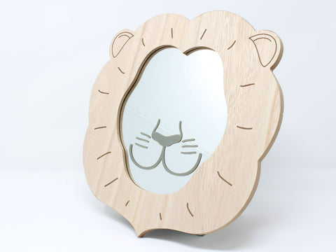 Wooden Lion's Face Children's Wall Mirror