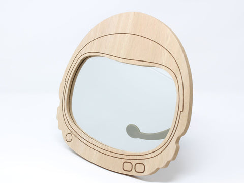 Wooden Space Helmet Children's Wall Mirror