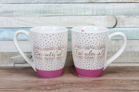 Chloe Beautiful/fabulous Gold and Pink Mug Choice of 2