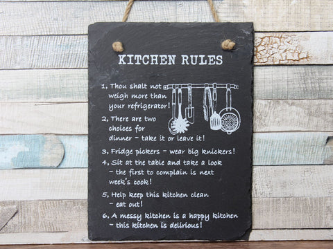 Slate Kitchen Rules Hanging Plaque Sign