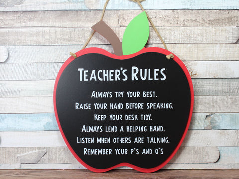 Apple Chalkboard Style Teacher Rules Plaque Sign