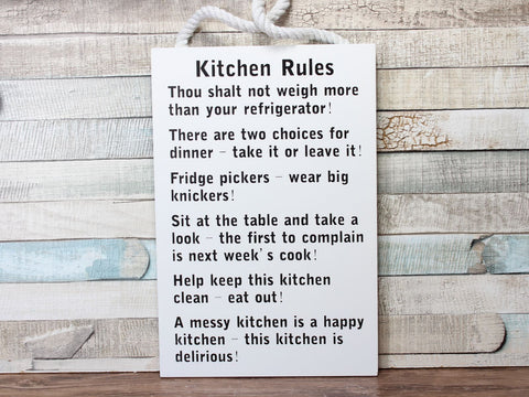 White Funny Kitchen Rules Large Plaque Sign On A Rope