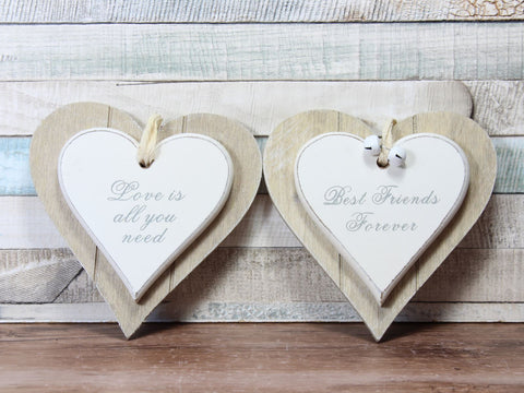 Love Is All You Or Best Friends Need Heart Plaque Sign