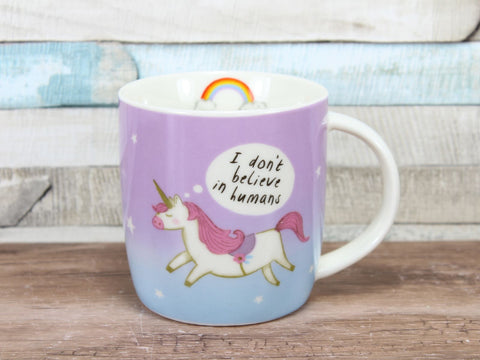 Unicorn China Mug I Don't Believe In Humans