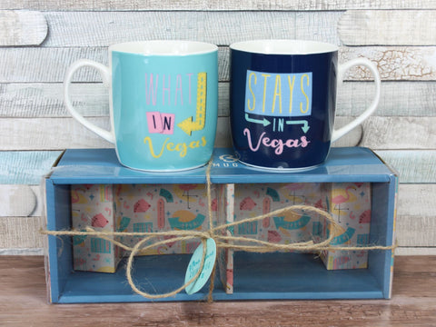 Set of 2 What Happens In Vegas China Mugs