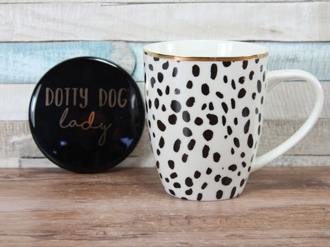 Dotty Dog Lady Mug & Coaster Set