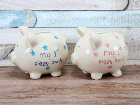 Small Ceramic My First Piggy Bank Blue or Pink