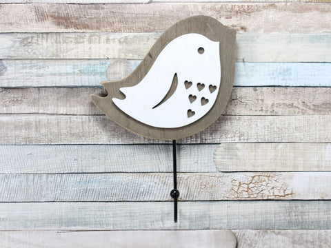 Ava Bird Wooden White Coat Hook