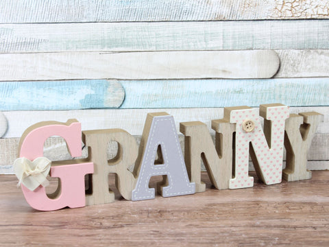 Granny Decorated Wooden 3D Words Freestanding Plaque Sign