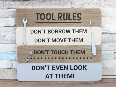 Tool Rules Large Wooden Plaque Sign
