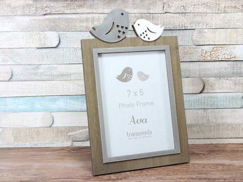 Ava Grey Bird Wooden Photo Frame 7x5""