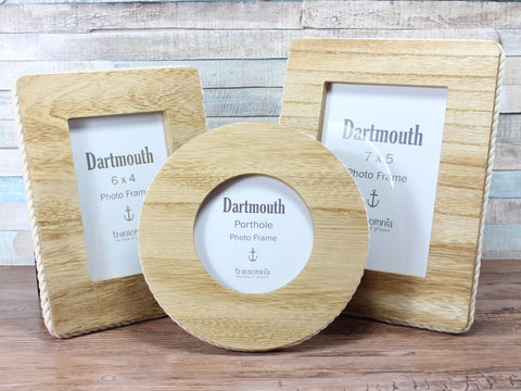 "Dartmouth Porthole, 6x4 or 7x5"" wooden Rope Nautical Photo frame"