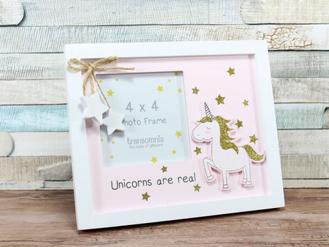 Unicorns Are Real Pink with Gold Glitter Photo Frame 4x4