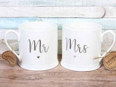 Mr & Mrs Large China Mug Set of 2