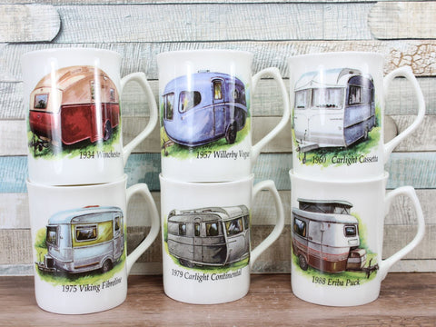 Vintage Caravan China Mug Choice of 6 Designs