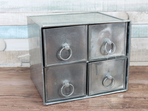 Metal Tin Storage 4 Drawer Cabinet Wall Mountable