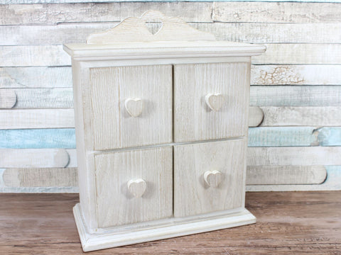 Wooden Hearts 4 drawer Jewellery Storage Box Cabinet