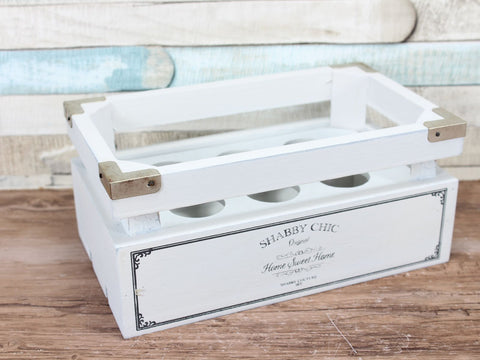 White Shabby Chic Home Sweet Home Egg Crate