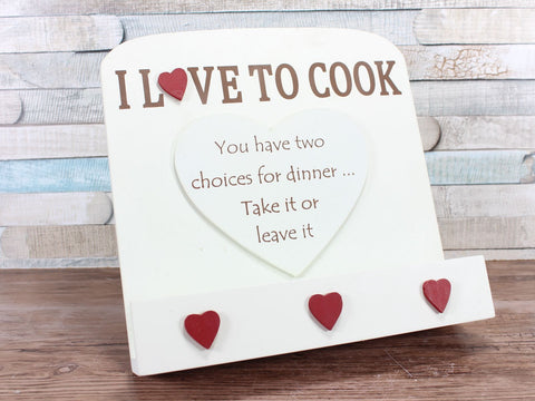 Cream Wooden I love To Cook Recipe Book Stand