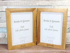 Bride & Groom Twin Folding Oak Frame 7x5""