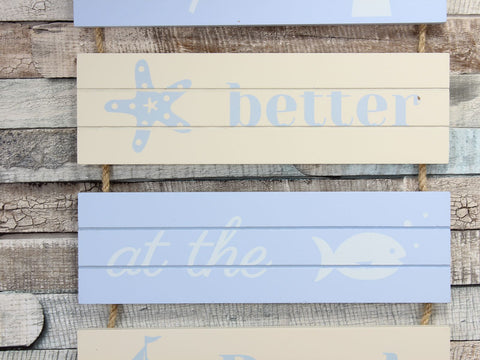 Blue/Cream Nautical Beach Slatted Hanging Sign Plaque Choice of 2