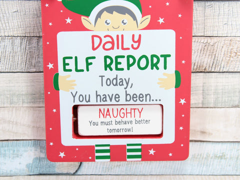 Rotating Elf Report Christmas Sign Naughty or Nice