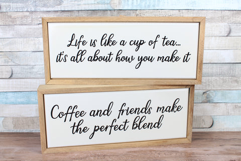 Tea or Coffee Wooden Framed Kitchen Sign Choice 2