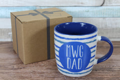 Welsh Mwg Dad Blue Stripped China Mug