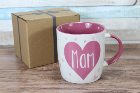 Welsh Mam Pink Hearts China Mug