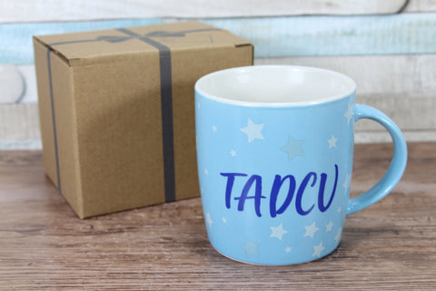 Welsh Tadcu Blue Stars China Mug