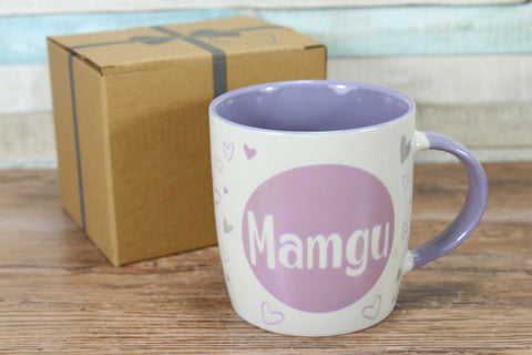 Welsh Mamgu Purple Hearts China Mug