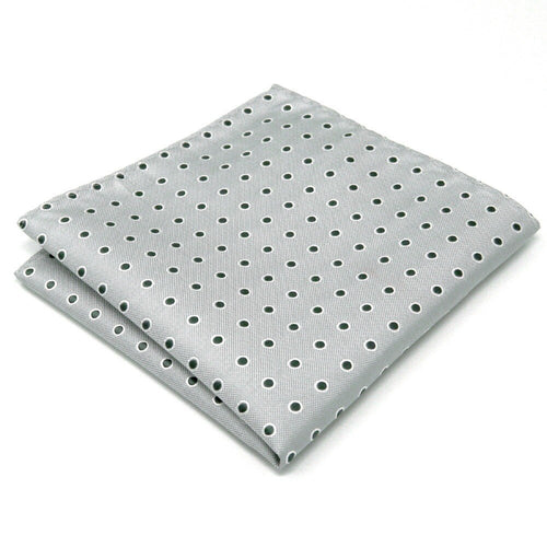Light Gray Polka Dots Silk Pocket Square