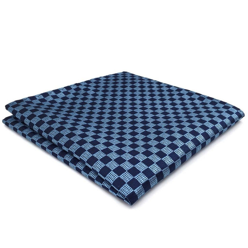 Navy Blue Check Pocket Square | 100% Silk Pocket Square | SoKKs.com