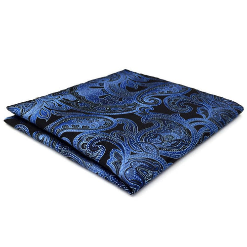 Dark Blue Paisley Pocket Square | 100% Silk Pocket Square | SoKKs.com