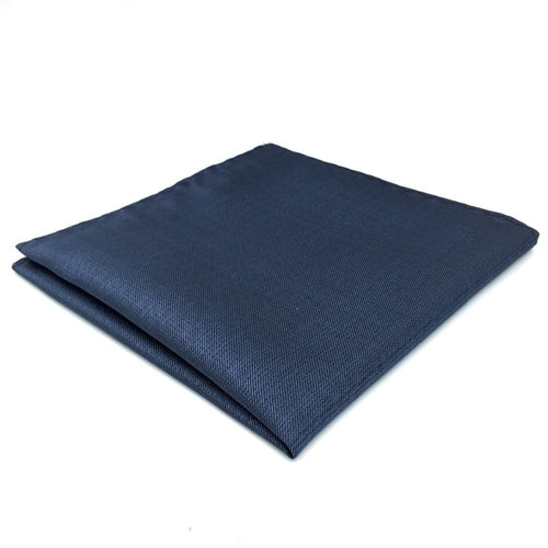 Solid Navy Silk Pocket Square