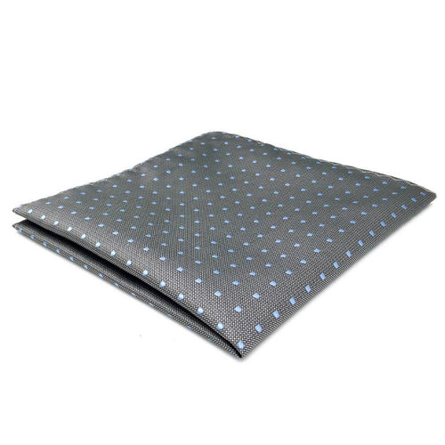 Dark Gray Polka Dots Silk Pocket Square