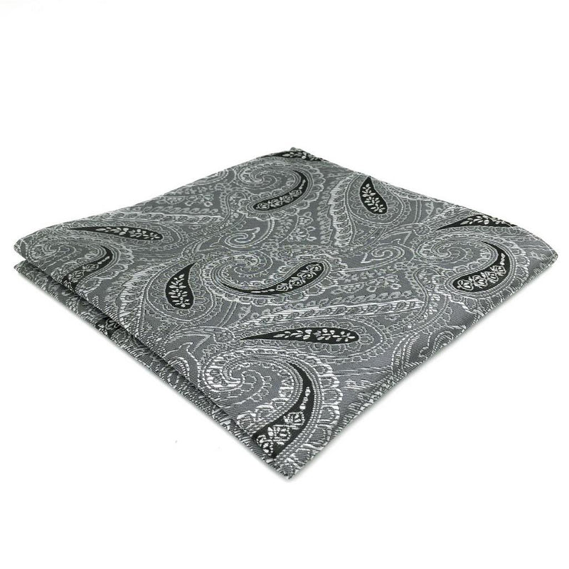Dark Grey Paisley Pocket Square | 100% Silk Pocket Square | SoKKs.com