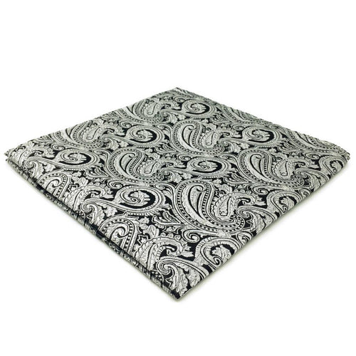 Silver Paisley Pocket Square | 100% Silk Pocket Square | SoKKs.com