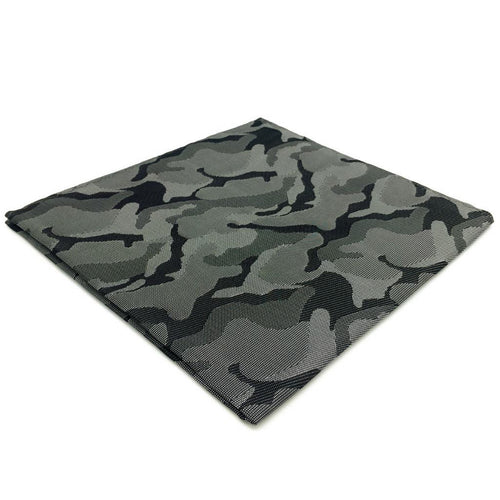 Dark Grey Camo Pocket Square | 100% Silk Pocket Square | SoKKs.com
