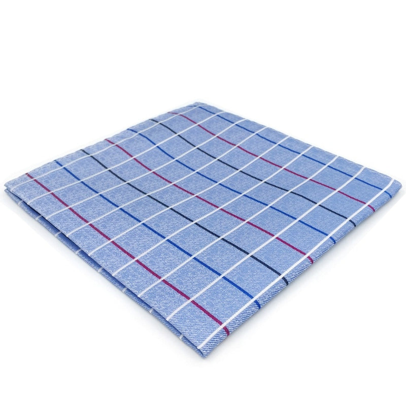 Azure Check Silk Pocket Square