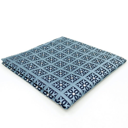 Light Blue Checks Pocket Square | 100% Silk Pocket Square | SoKKs.com